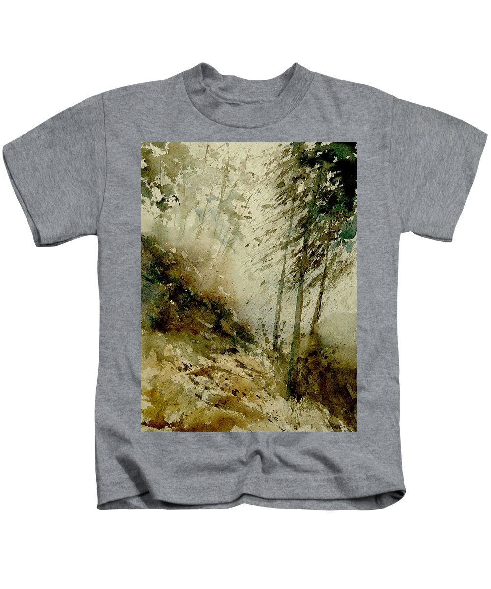 Landscape Kids T-Shirt featuring the painting Watercolor Misty Atmosphere by Pol Ledent