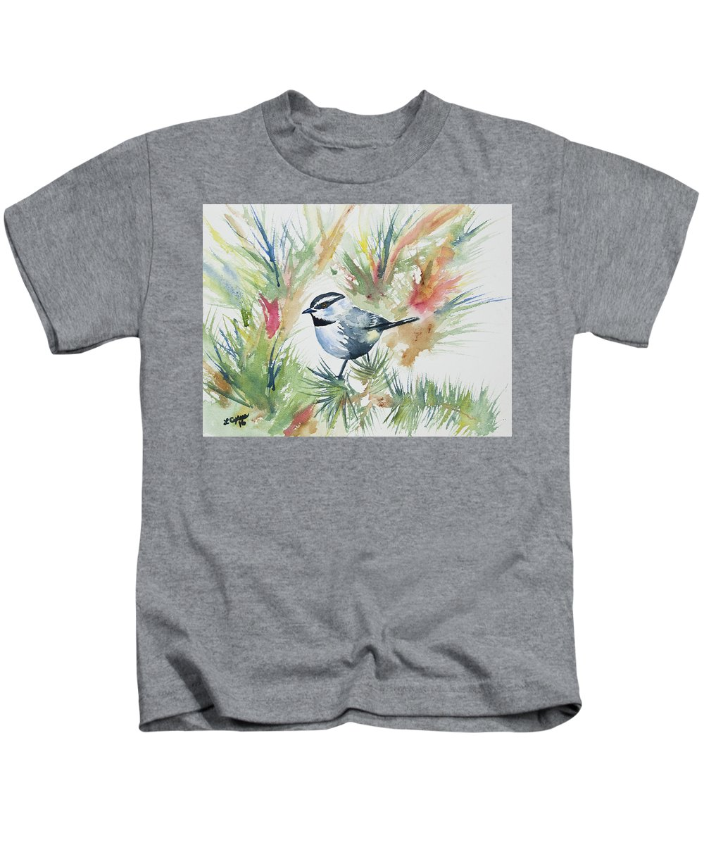 Mountain Chickadee Kids T-Shirt featuring the painting Watercolor - Mountain Chickadee And Pine by Cascade Colors