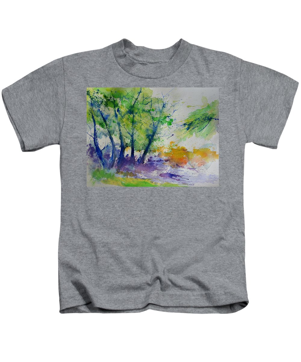 Landscape Kids T-Shirt featuring the painting Watercolor Spring 2016 by Pol Ledent