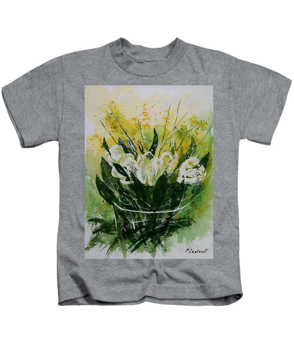 Flowers Kids T-Shirt featuring the painting Watercolor Tulips by Pol Ledent