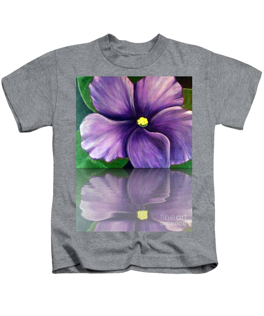 African Violet Kids T-Shirt featuring the digital art Watery African Violet Reflection by Barbara Griffin