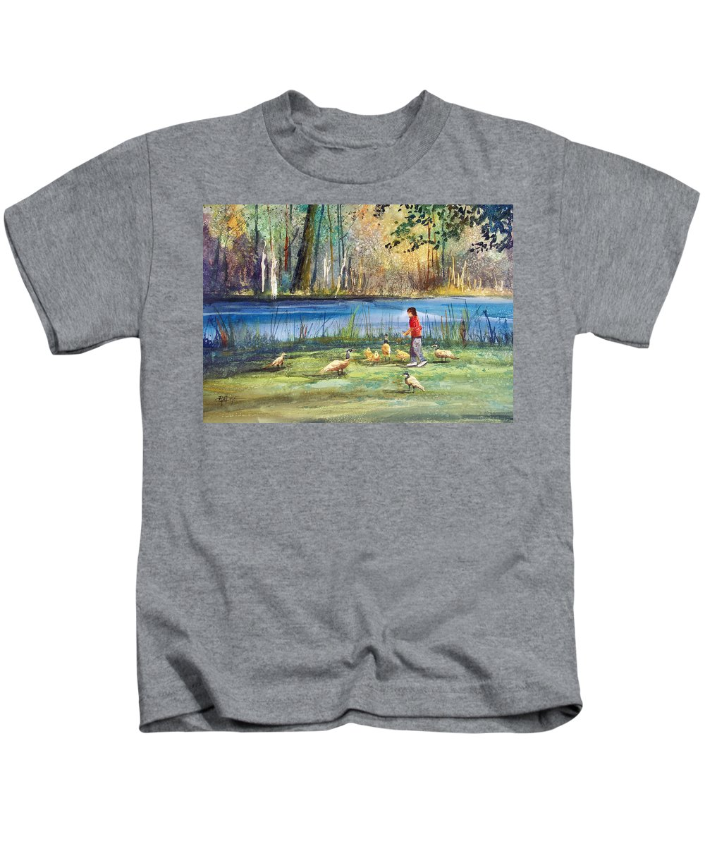 Ryan Radke Kids T-Shirt featuring the painting Wautoma Mill Pond by Ryan Radke