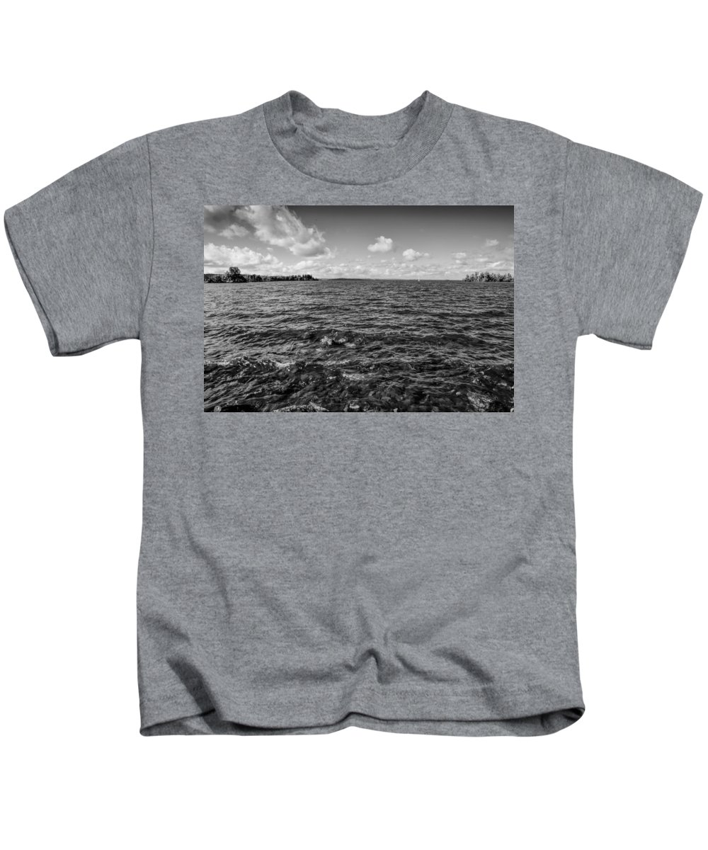 Black And White Kids T-Shirt featuring the photograph Waves Malaren Bw. by Leif Sohlman