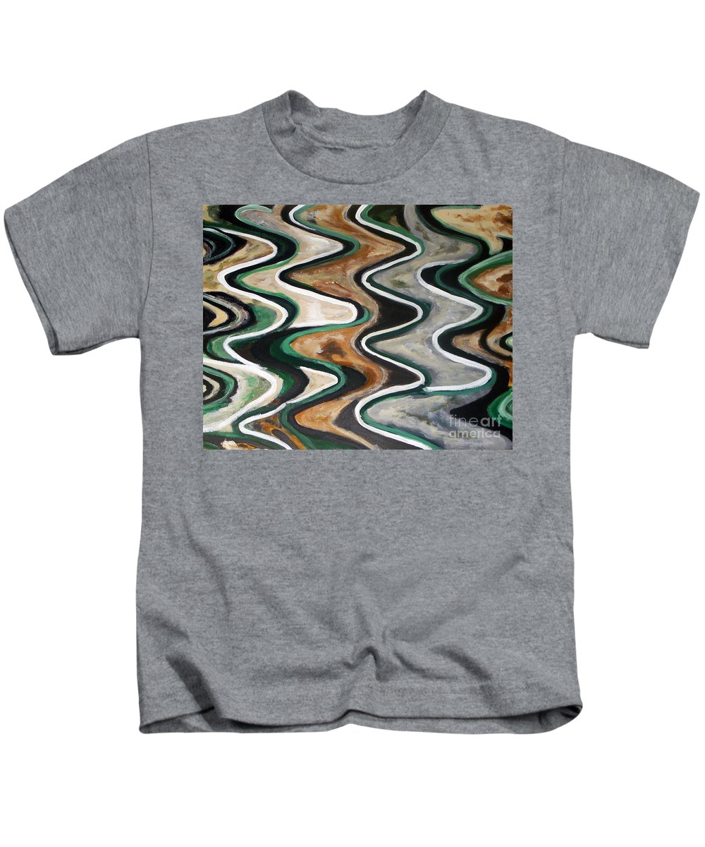 Acrylic Painting Kids T-Shirt featuring the painting Waves Of Life by Yael VanGruber