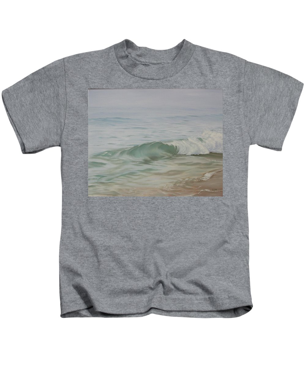 Seascape Kids T-Shirt featuring the painting Waves Out Of The Fog by Lea Novak