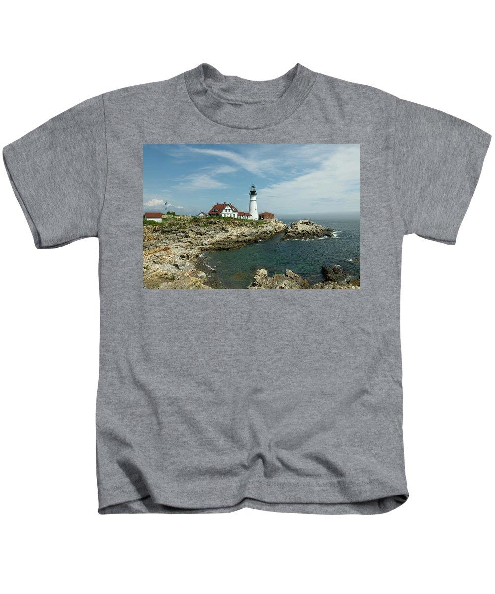 portland Head Light House Kids T-Shirt featuring the photograph Welcome To Portland Head Light by Paul Mangold