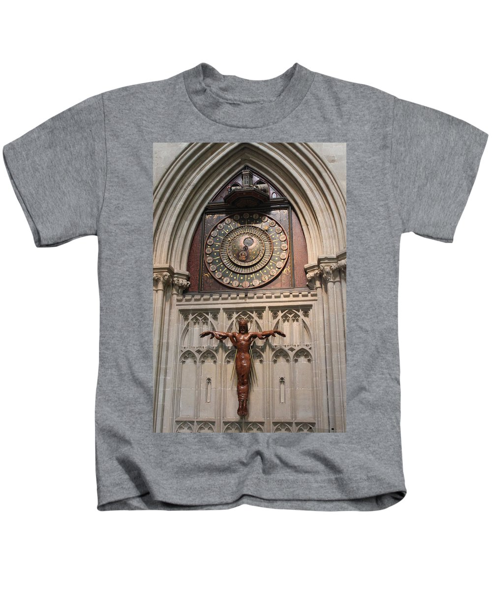 Clock Kids T-Shirt featuring the photograph Wells Cathedral Geocentric Clock by Lauri Novak