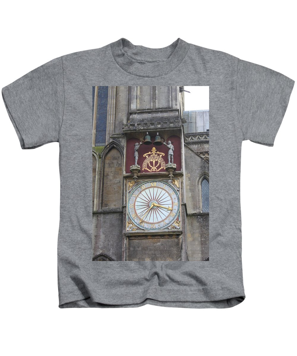 Wells Kids T-Shirt featuring the photograph Wells Cathedral Outside Clock by Lauri Novak