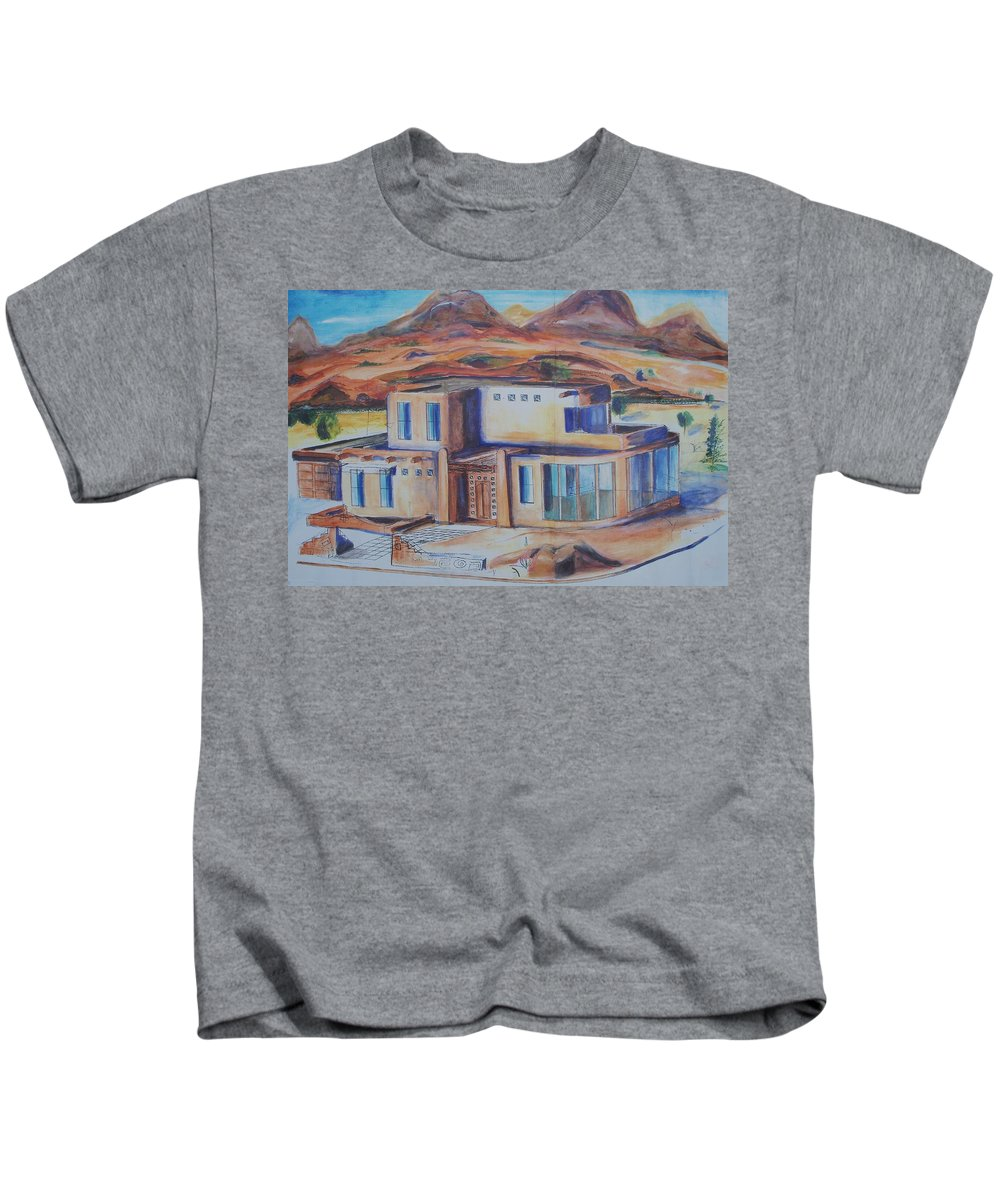 Floral Kids T-Shirt featuring the painting Western Home Illustration by Eric Schiabor