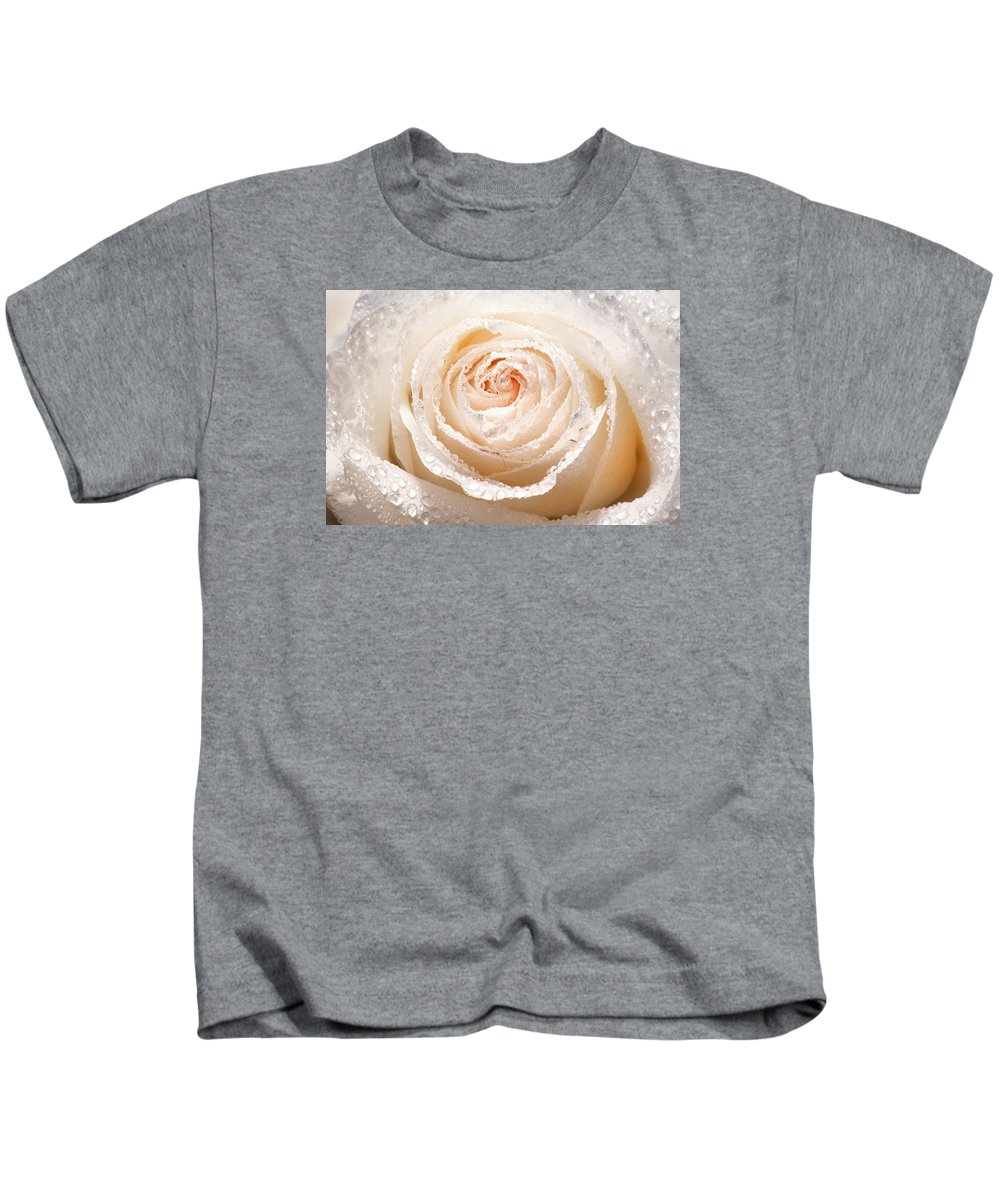 Rose Kids T-Shirt featuring the photograph Wet White Rose by Don Johnson