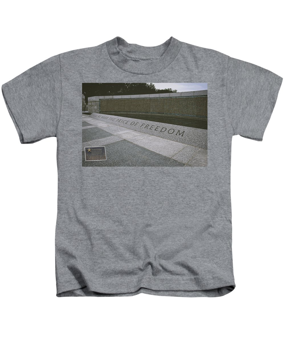 World War Ii Memorial Kids T-Shirt featuring the photograph What Does Freedom Cost? by Lucinda Walter
