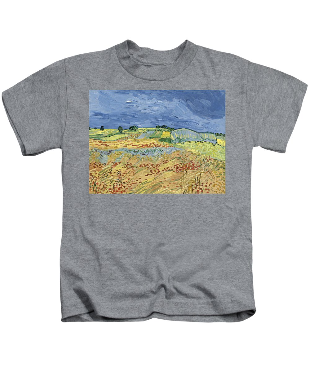 Country Kids T-Shirt featuring the painting Wheat Field With Stormy Sky by Vincent van Gogh