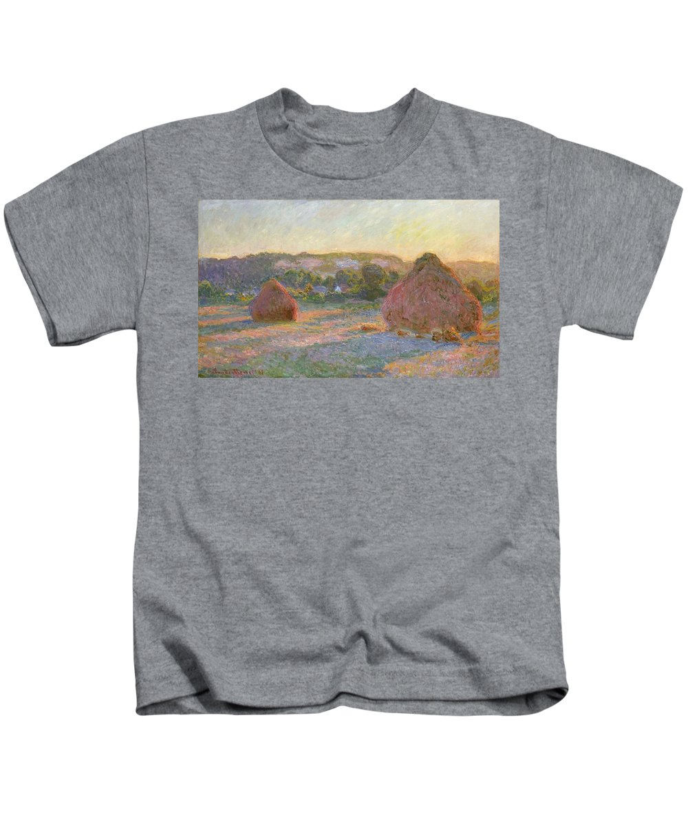 Claude Monet Kids T-Shirt featuring the painting Wheatstacks, End Of Summer by Claude Monet