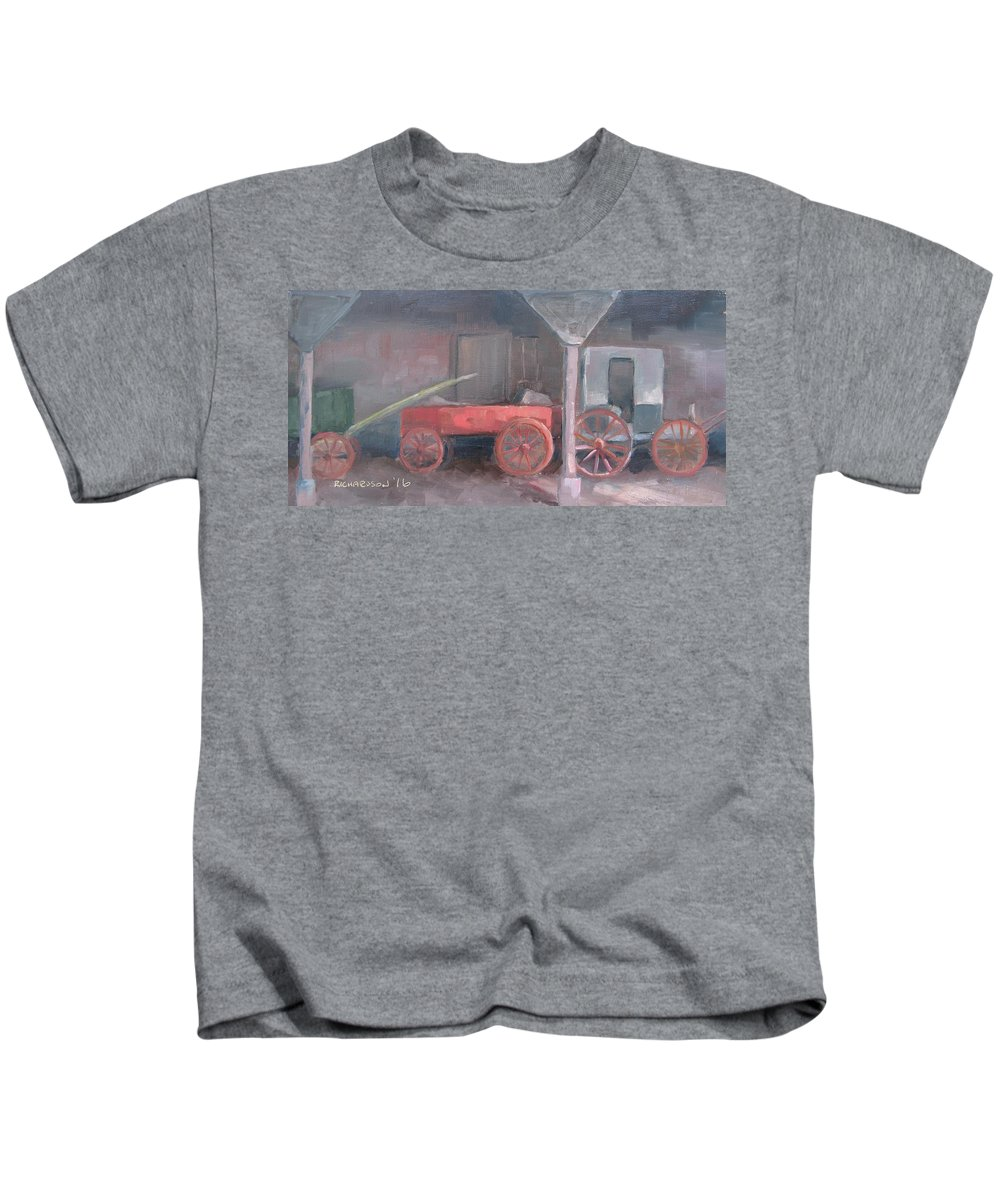 Wagons Kids T-Shirt featuring the painting Wheels by Susan Richardson