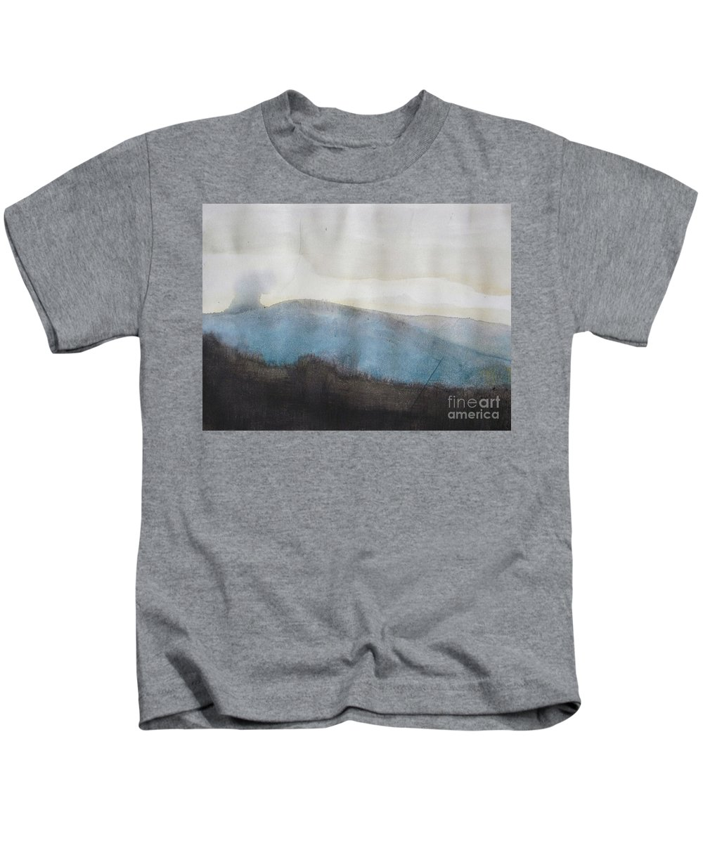 Landscape Kids T-Shirt featuring the painting When Etna Idle by Vesna Antic