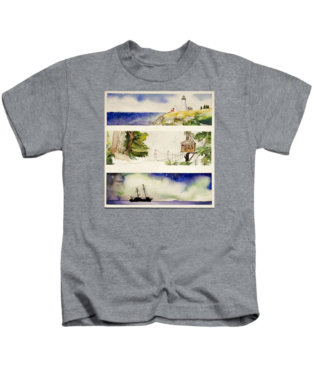 Watercolor Kids T-Shirt featuring the painting Where I Would Like To Be by Puterka