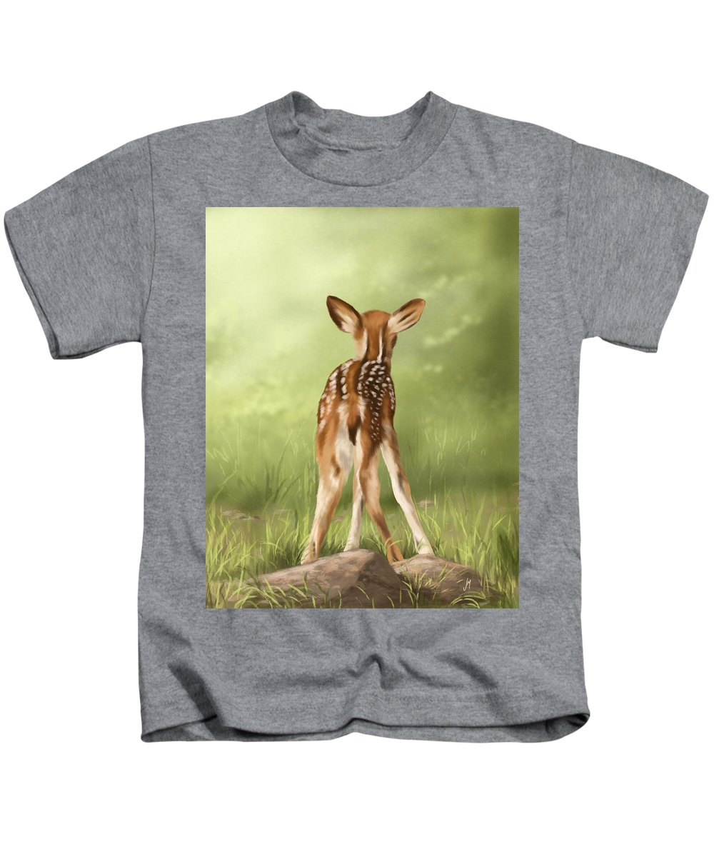 Fawn Kids T-Shirt featuring the painting Where Is My Mom? by Veronica Minozzi