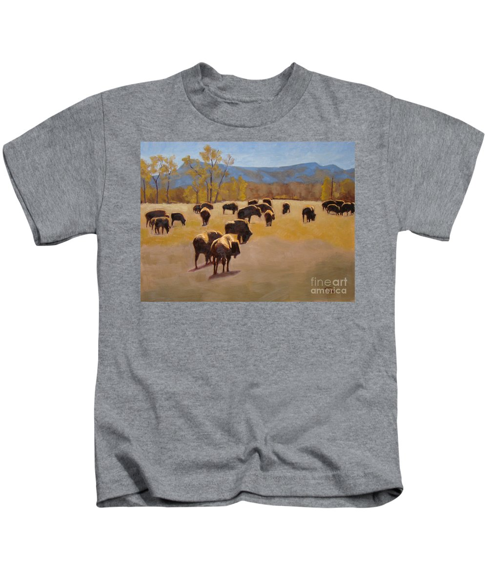 Buffalo Kids T-Shirt featuring the painting Where The Buffalo Roam by Tate Hamilton
