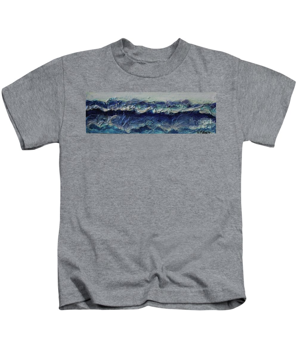 Whipped Cream Kids T-Shirt featuring the painting Whipped Cream Waves by Kim Nelson