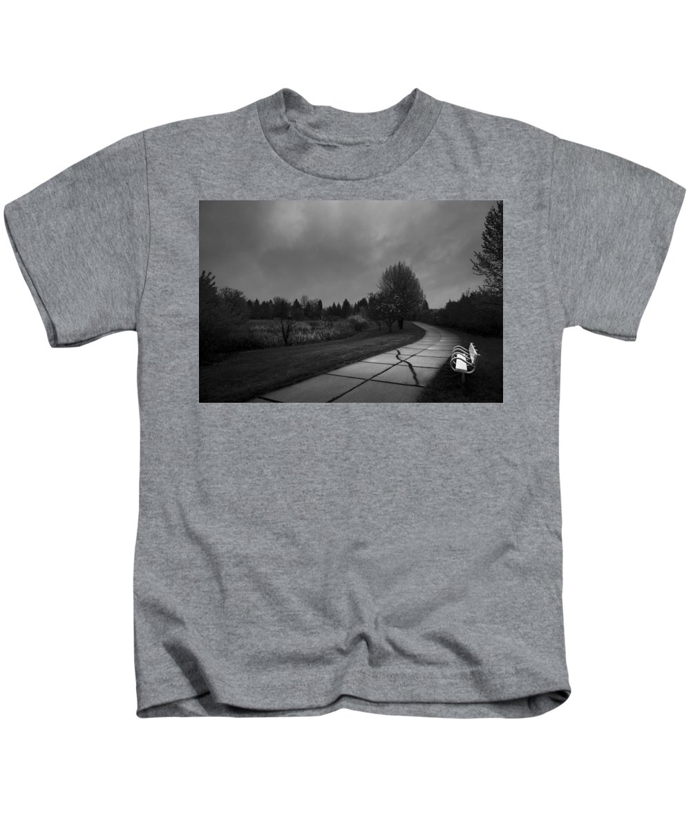 Bench Kids T-Shirt featuring the photograph White Bench Horizontal Bw by Donald Erickson