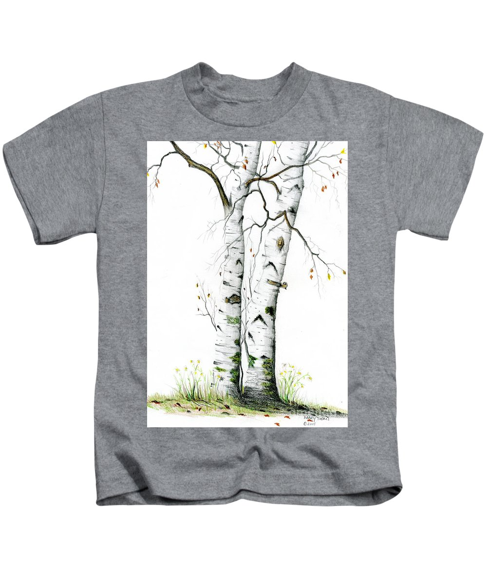 White Birch Kids T-Shirt featuring the painting White Birch by Mary Tuomi