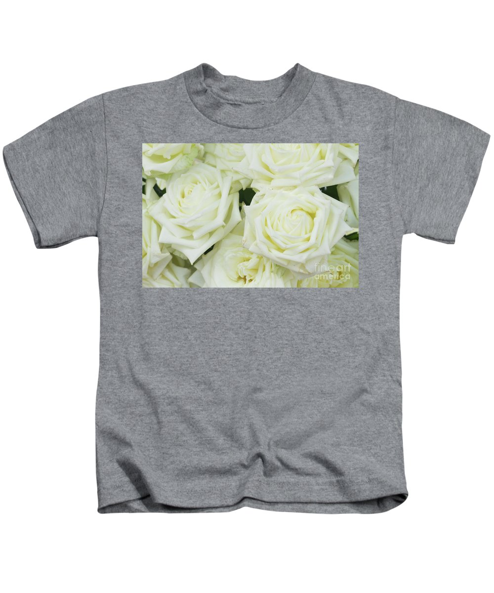 Rose Kids T-Shirt featuring the photograph White Blooming Roses by Anastasy Yarmolovich