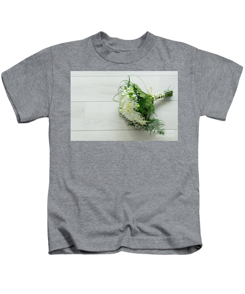 Roses Kids T-Shirt featuring the photograph White Wedding Bouquet by Anastasy Yarmolovich