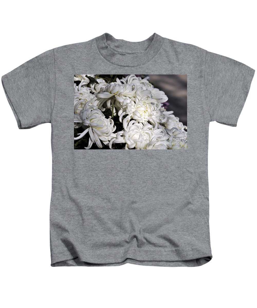 Clay Kids T-Shirt featuring the photograph White Chrysanthemum by Clayton Bruster