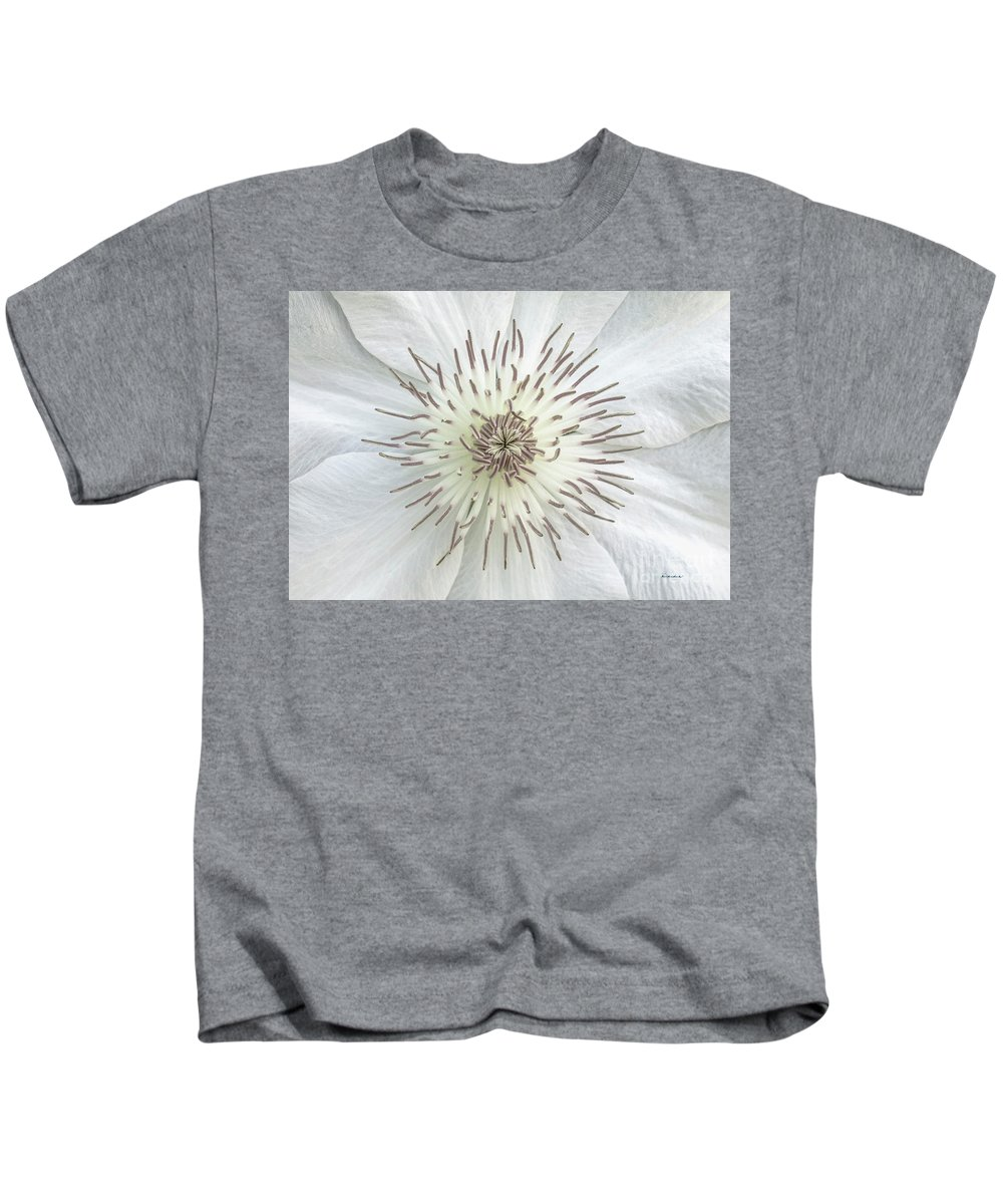 50121b Kids T-Shirt featuring the photograph White Clematis Flower Garden 50121b by Ricardos Creations