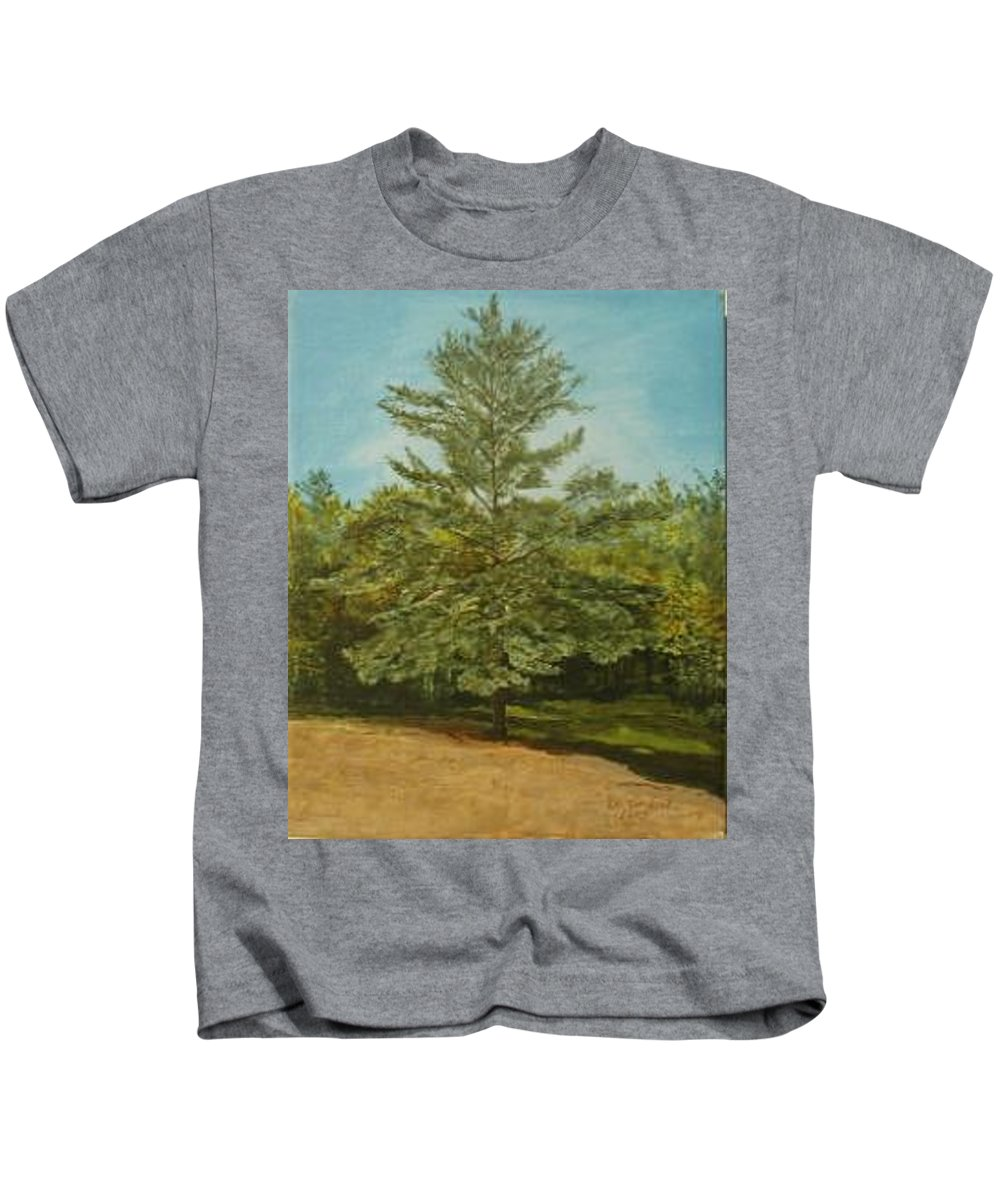 Pine Tree Kids T-Shirt featuring the painting White Lake by Leah Tomaino