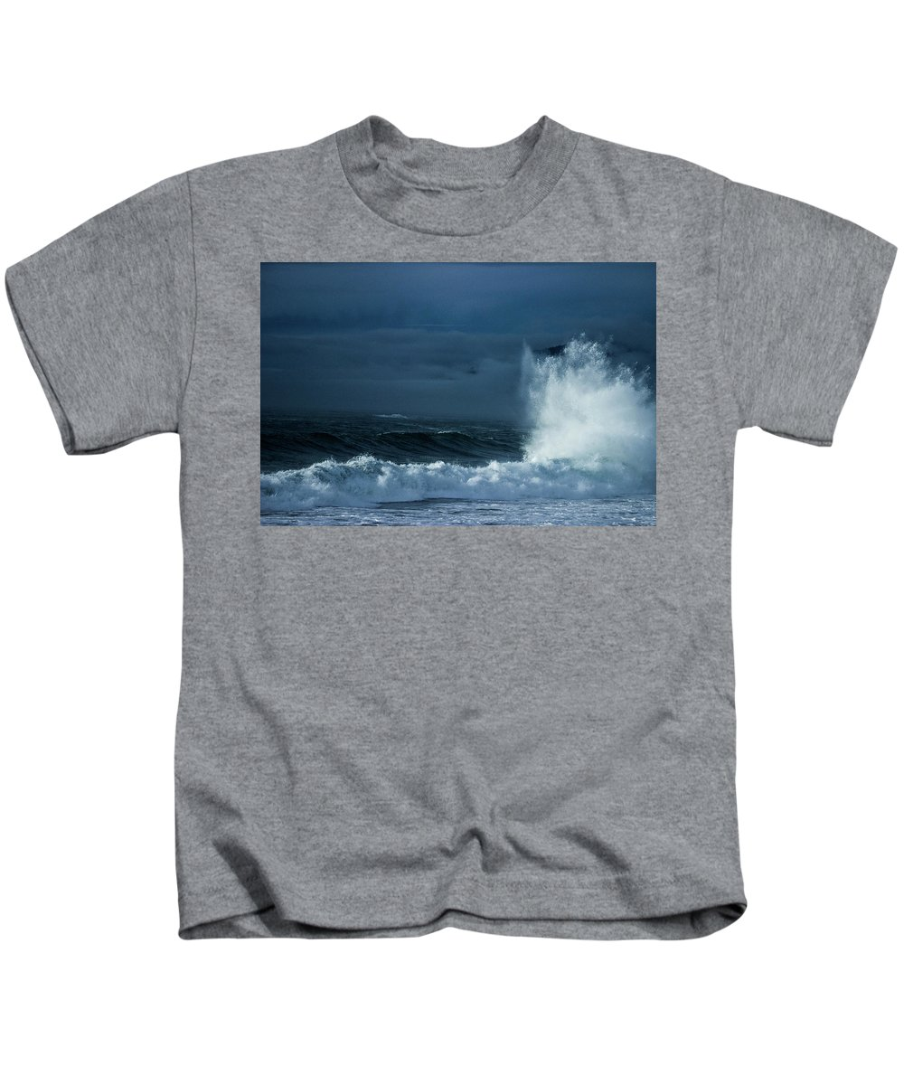 Sea Kids T-Shirt featuring the photograph White On Blue Explosion by Eamon Kelly