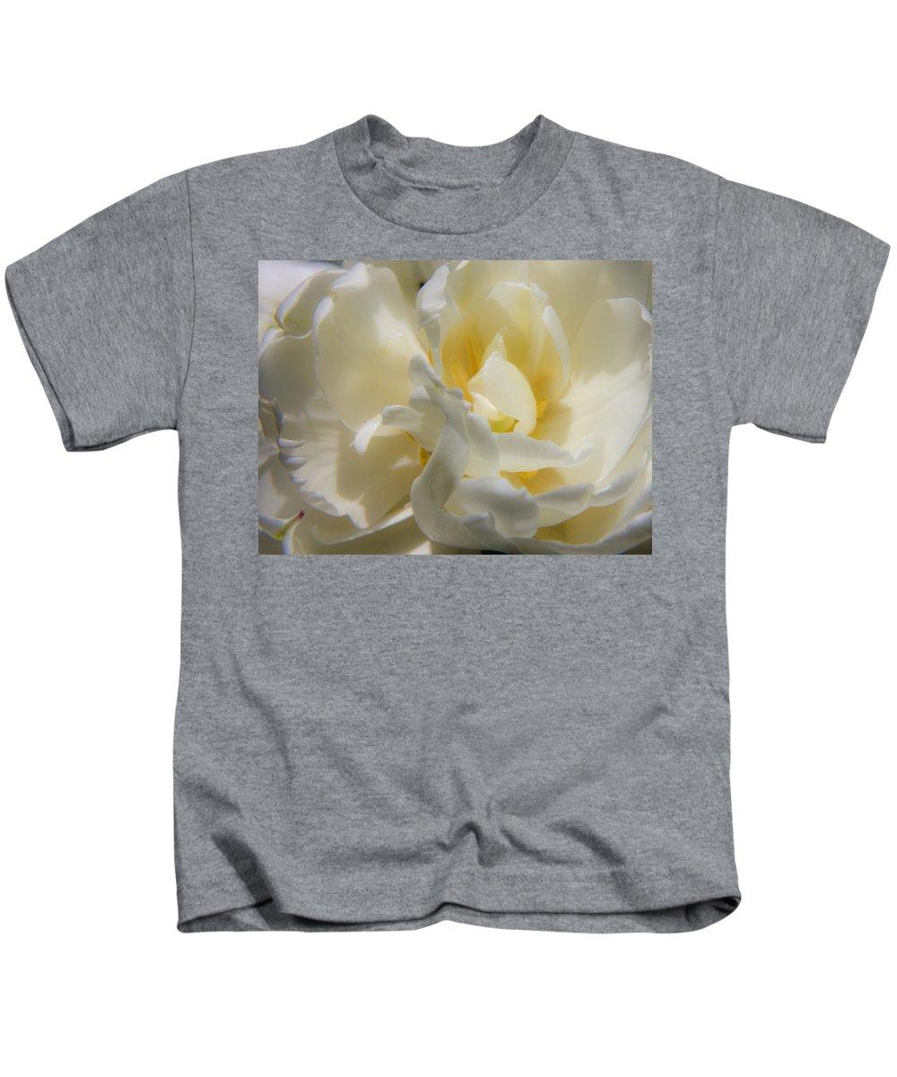 White Kids T-Shirt featuring the photograph White Peony Tulip Detail by Teresa Mucha