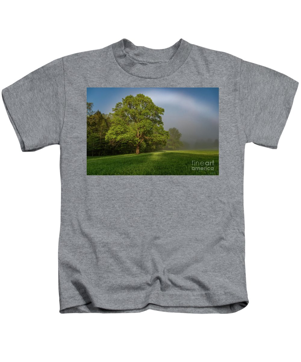 Fogbow Kids T-Shirt featuring the photograph White Rainbow by Darwin White