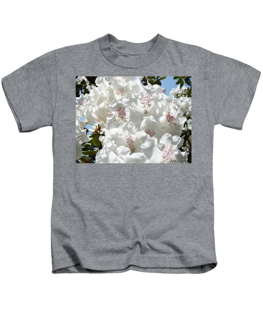 Rhodies Kids T-Shirt featuring the photograph White Rhododendrons Flowers Art Prints Baslee Troutman by Baslee Troutman