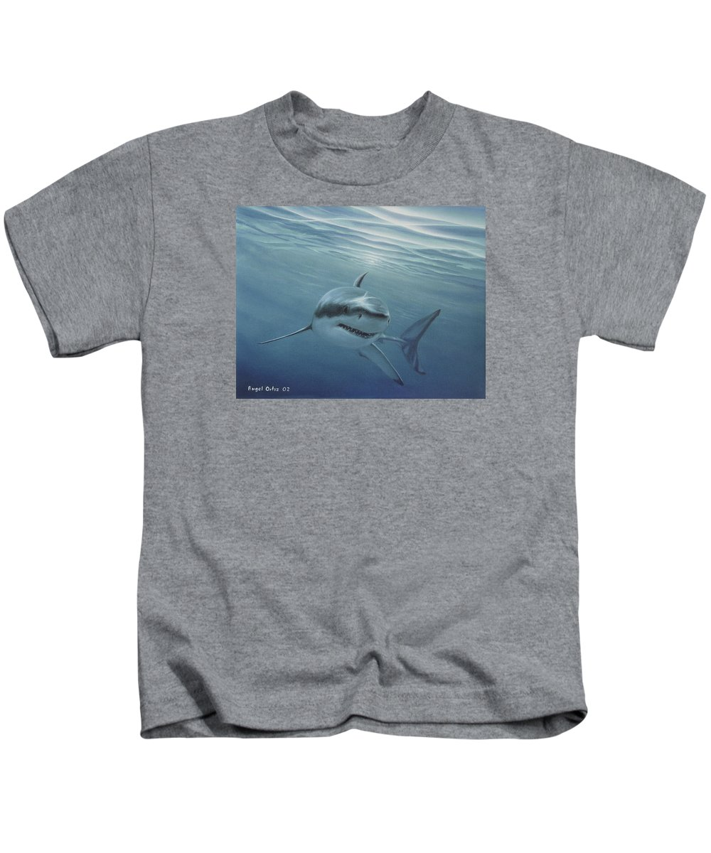 Shark Kids T-Shirt featuring the painting White Shark by Angel Ortiz
