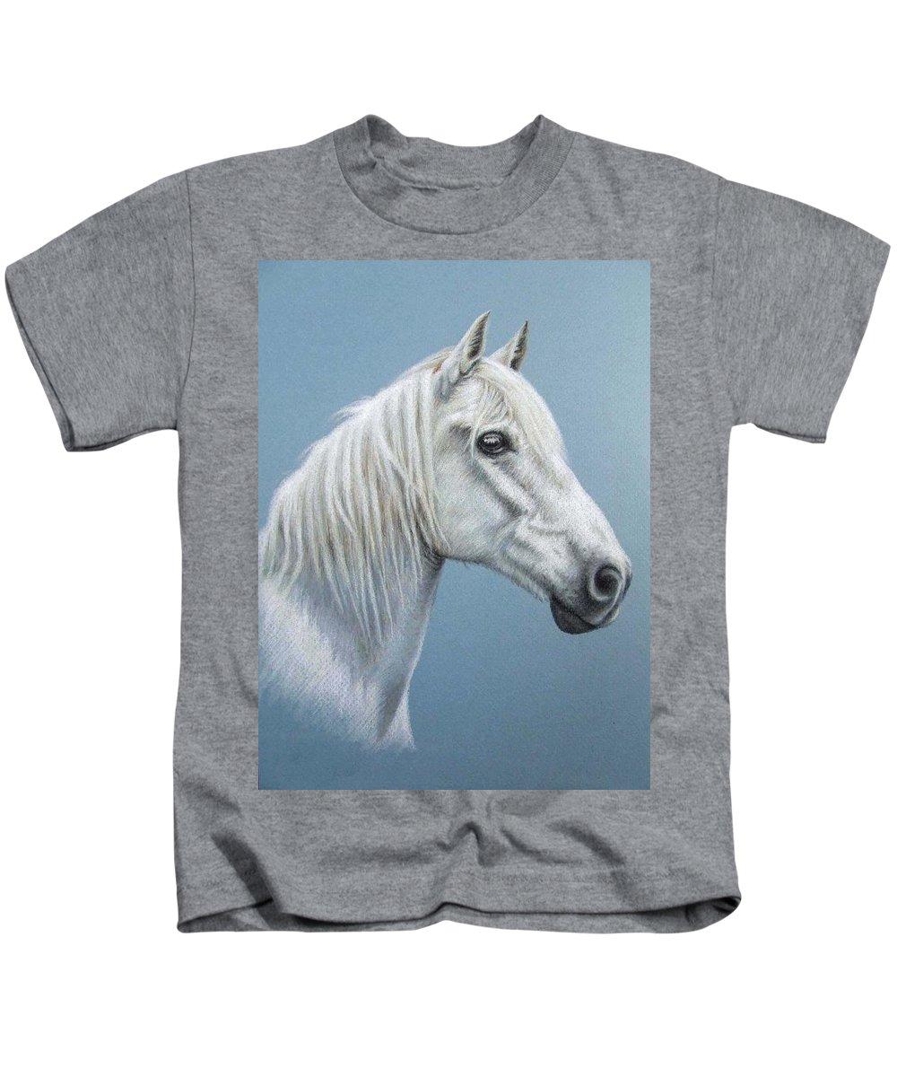 Horse Stallion White Pferd Portrait Animal Realism Pastel Kids T-Shirt featuring the pastel White Stallion by Nicole Zeug