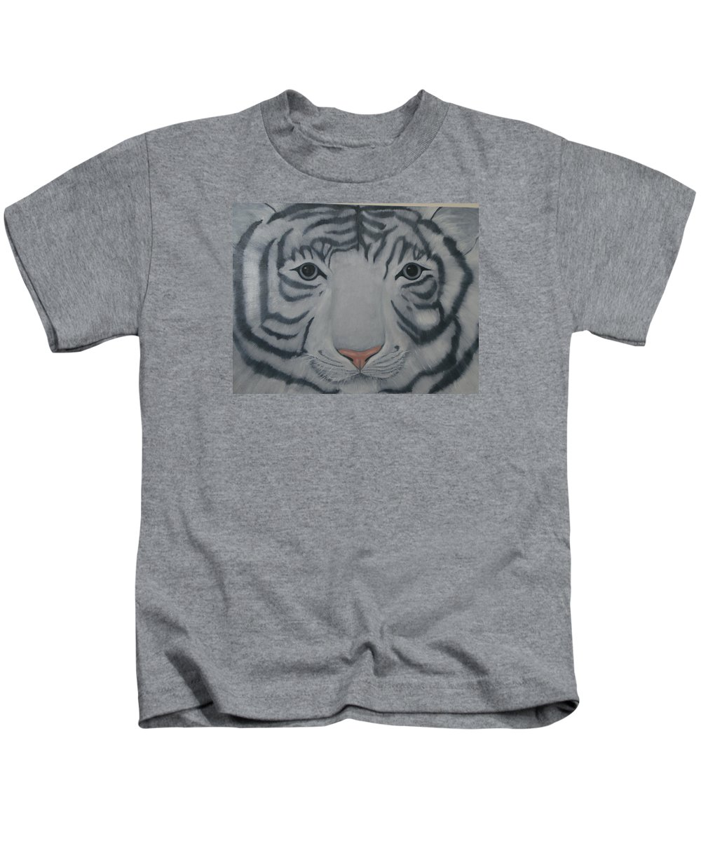 White Tiger Kids T-Shirt featuring the painting White Tiger by Toni Berry