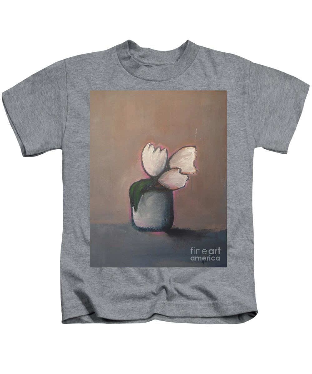 Abstract Kids T-Shirt featuring the painting White Tulips - Abstract Art by Vesna Antic