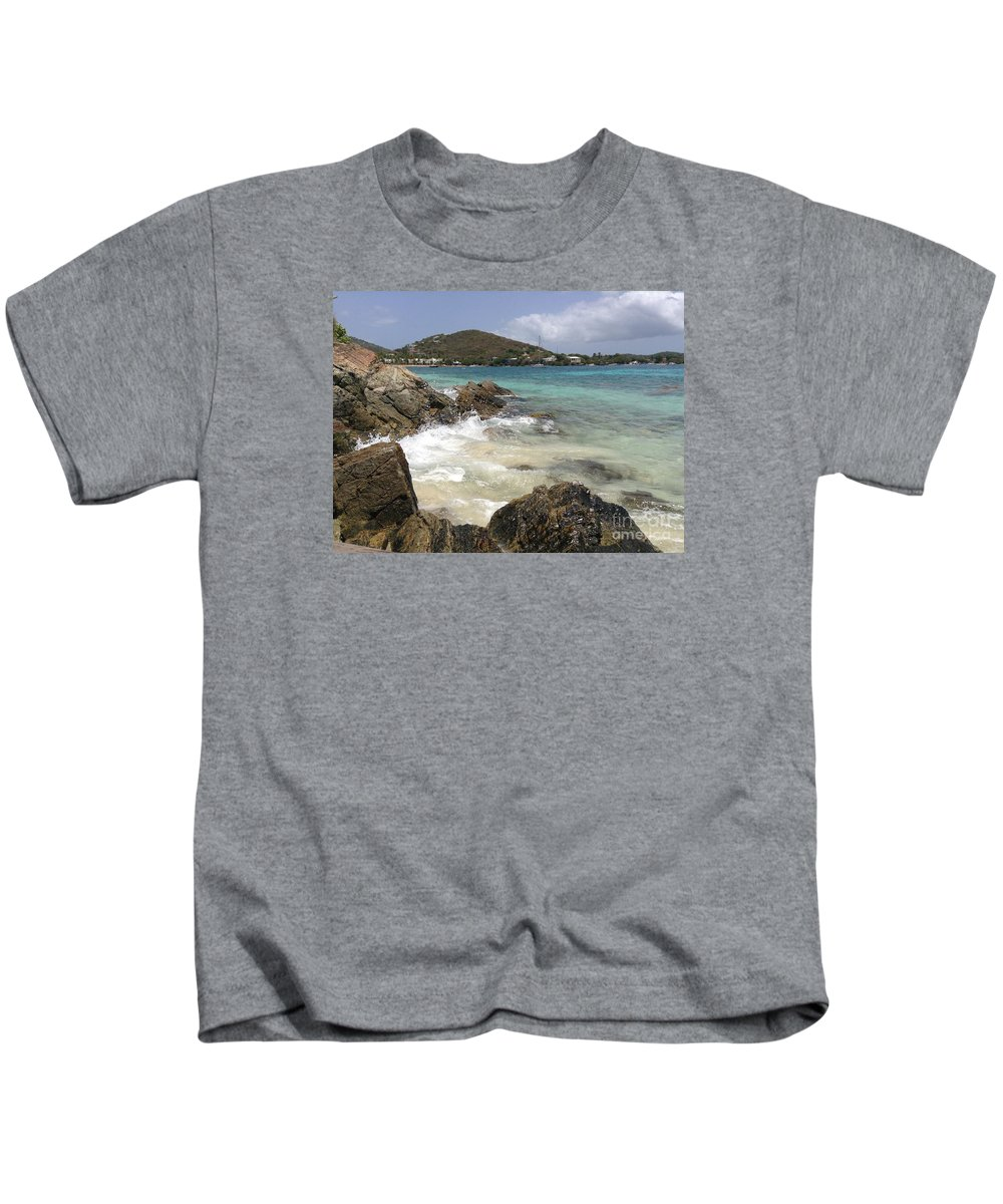 Islands Kids T-Shirt featuring the photograph White Waves Crashing by Gina Sullivan