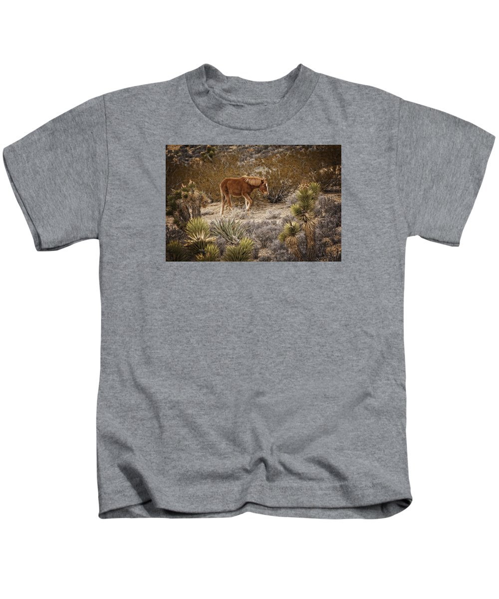Nevada Kids T-Shirt featuring the photograph Wild Horse At Cold Creek by Mitch Spence