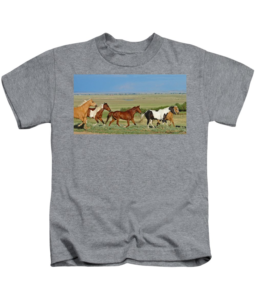 Herd Kids T-Shirt featuring the photograph Wild Horses Wyoming by Heather Coen