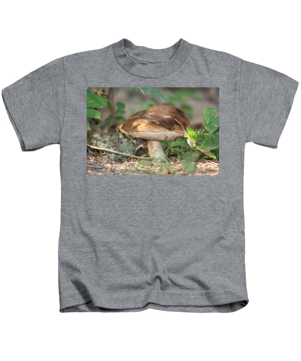 Mushroom Wild Plants Nature Forest Earth Natural Kids T-Shirt featuring the photograph Wild Mushroom by Andrea Lawrence