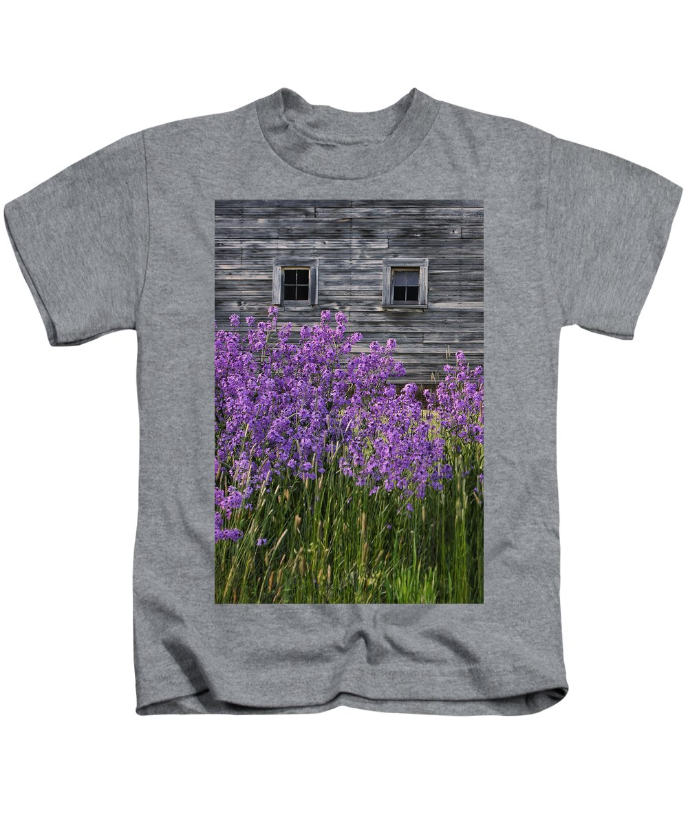 Windows Kids T-Shirt featuring the photograph Wild Phlox - Windows - Old Barn by Nikolyn McDonald