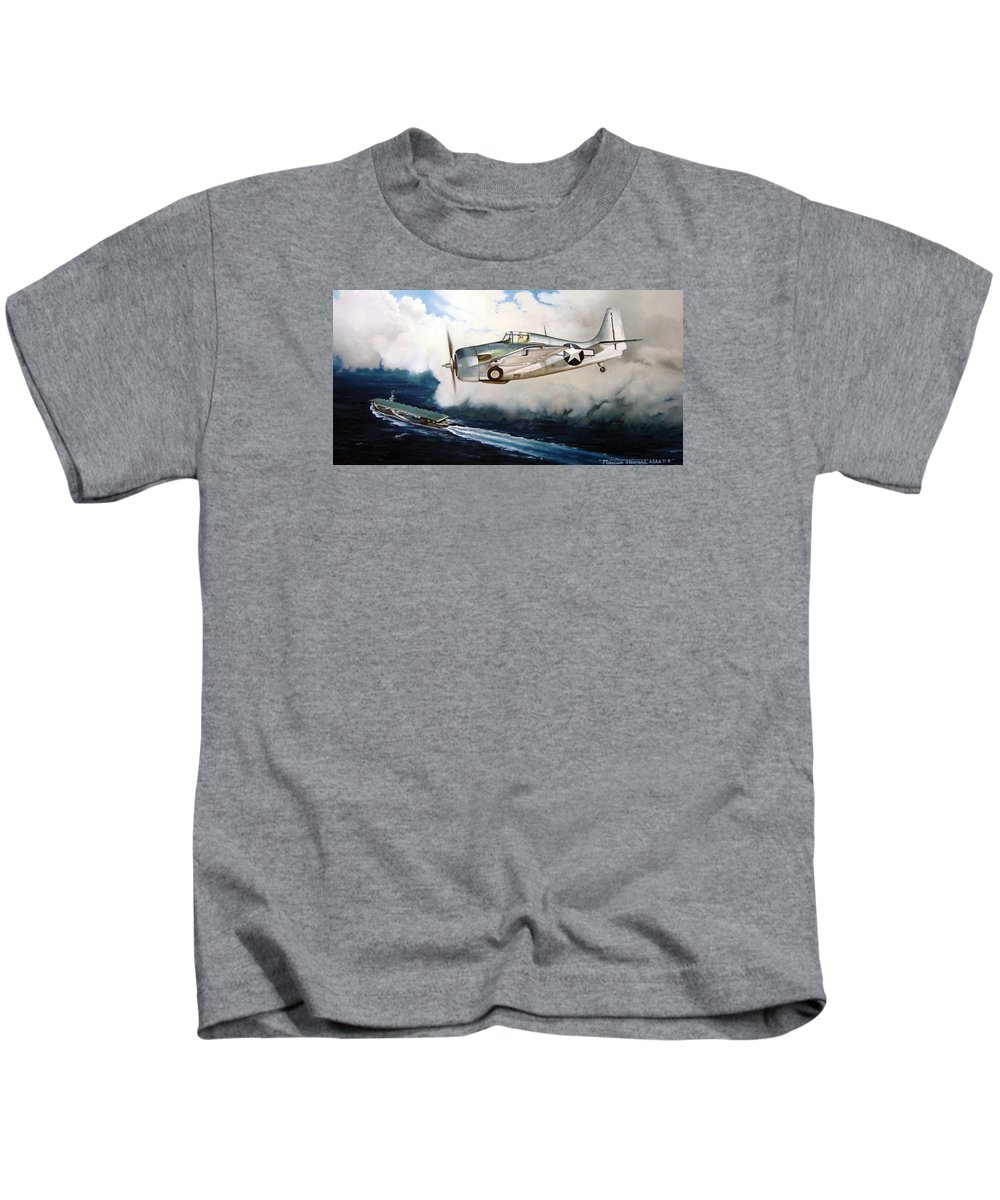 Wwii Kids T-Shirt featuring the painting Wildcat Home by Marc Stewart