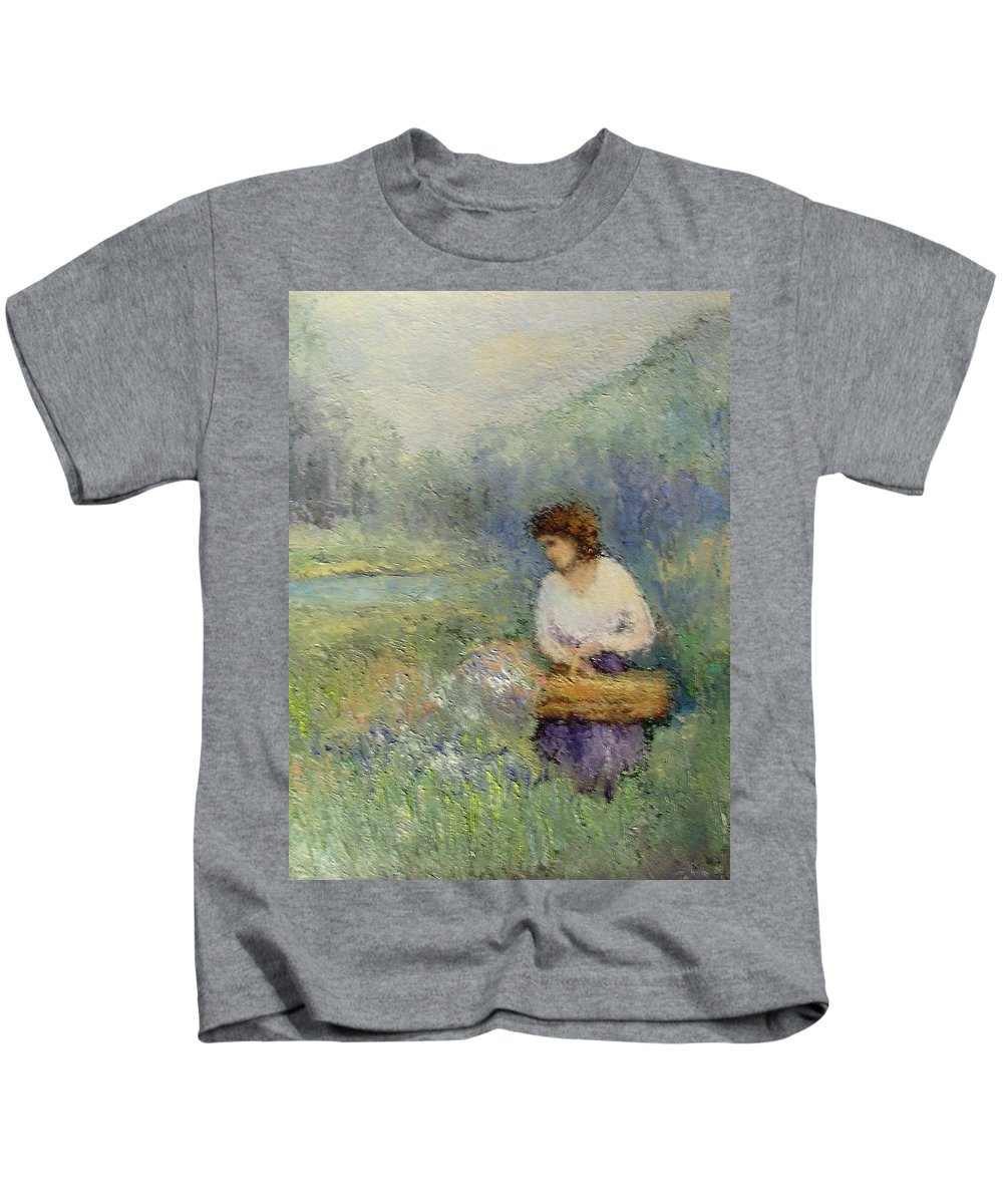 Woman Kids T-Shirt featuring the painting Wildflowers by Gail Kirtz
