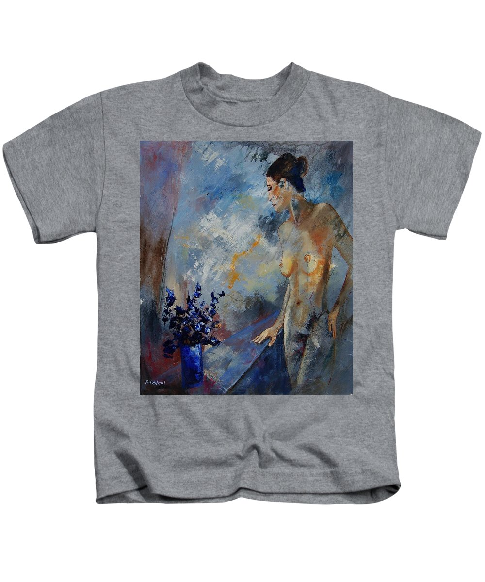 Girl Kids T-Shirt featuring the painting Will He Be Coming by Pol Ledent