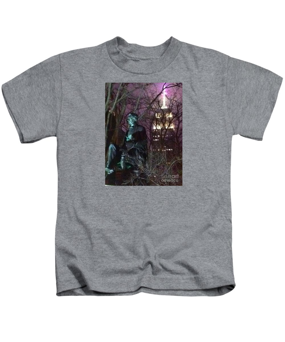 William Seward Kids T-Shirt featuring the photograph William Seward And Empire State Building 1 by Ken Lerner