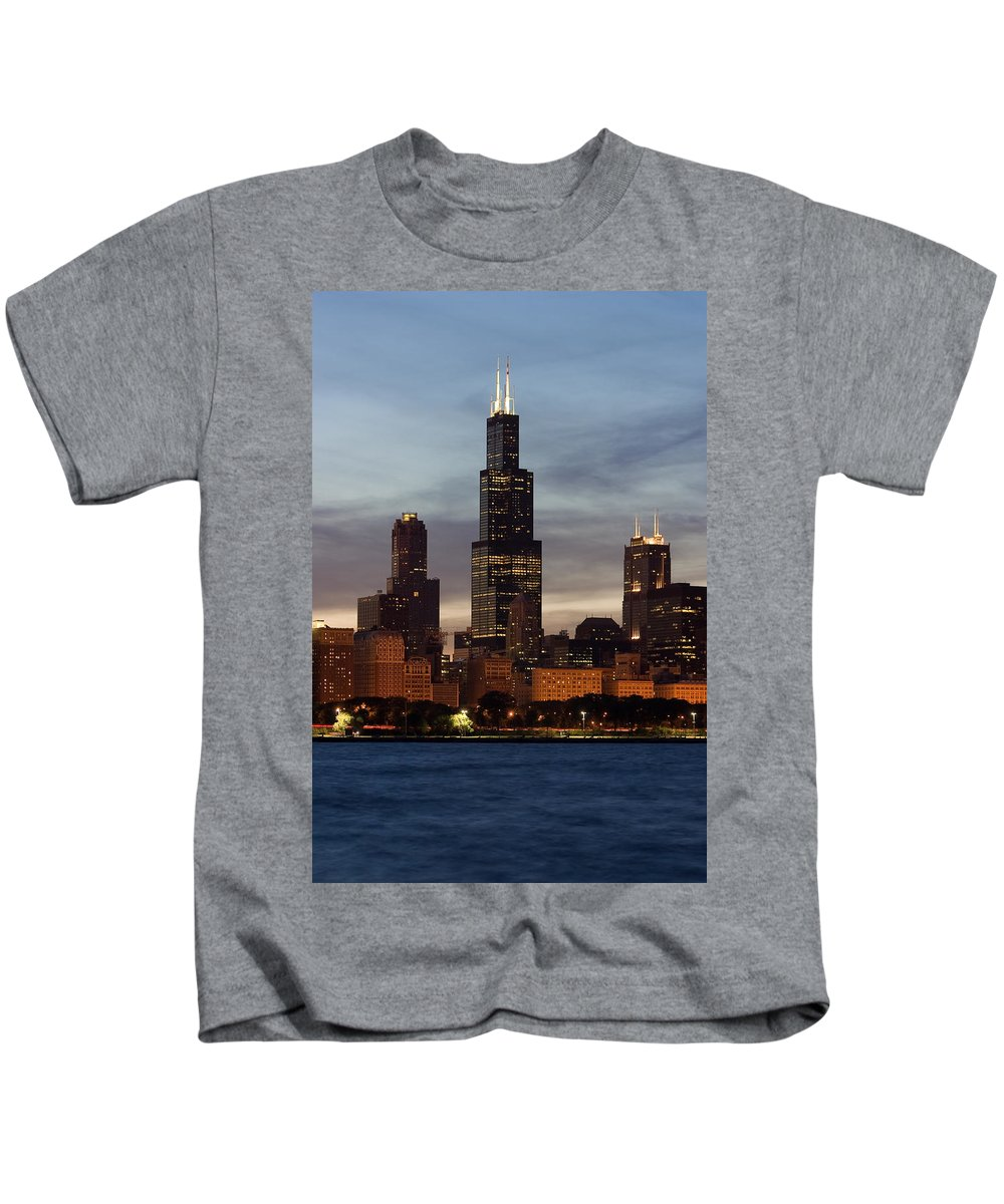 3scape Photos Kids T-Shirt featuring the photograph Willis Tower At Dusk Aka Sears Tower by Adam Romanowicz