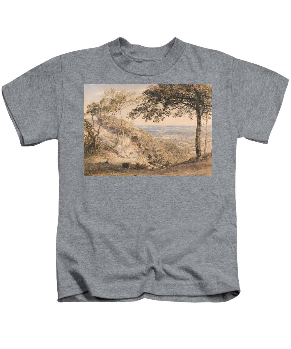 Samuel Palmer Kids T-Shirt featuring the painting Wilmot's Hill, Kent by Samuel Palmer
