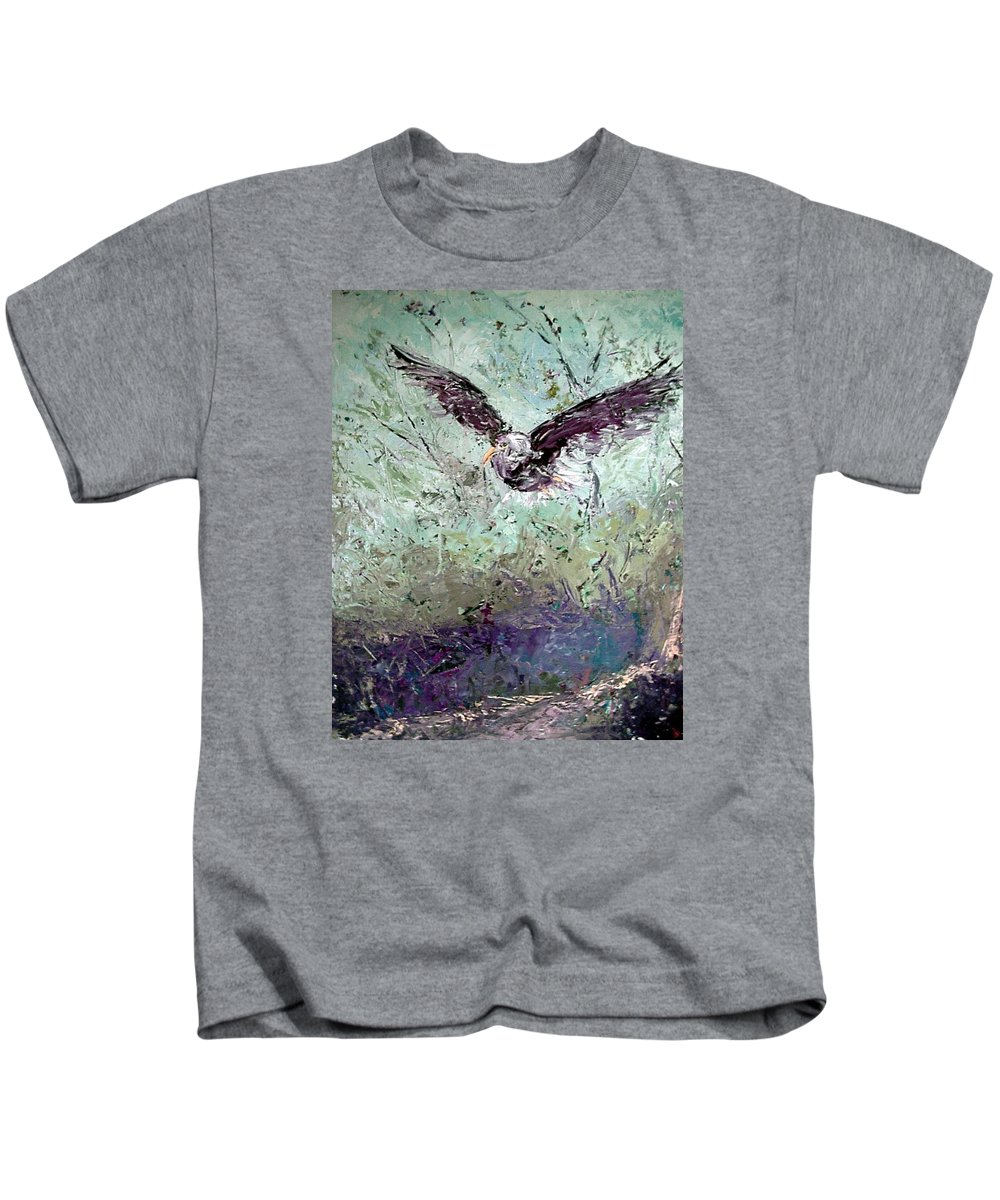 Eagle Kids T-Shirt featuring the painting Wind by Janet Lavida